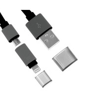 Cable Noodle 2 en 1 USB a Lightning/Micro USB -Negro